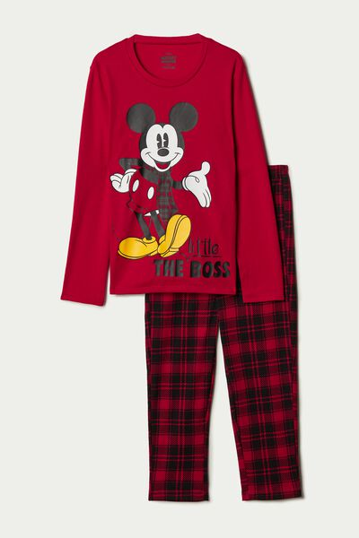 Dlouhé Bavlněné Pyžamo se Skotským Vzorem a Mickey Mousem
