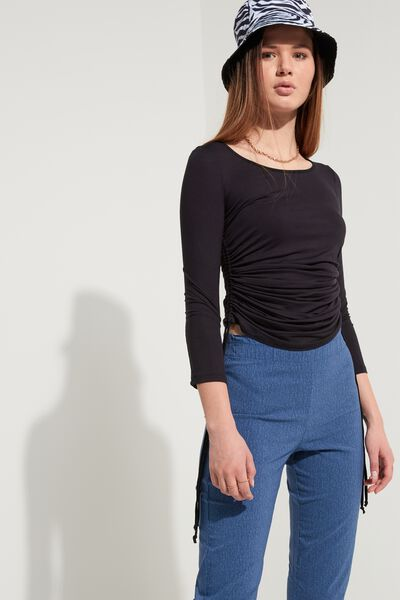Long-Sleeved Top with Boat Neck and Drawstrings