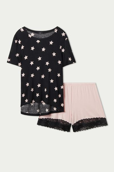 Short Viscose Pyjamas with Star Print and Lace