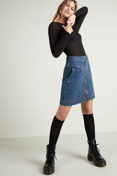 Body manga comprida com lã merino