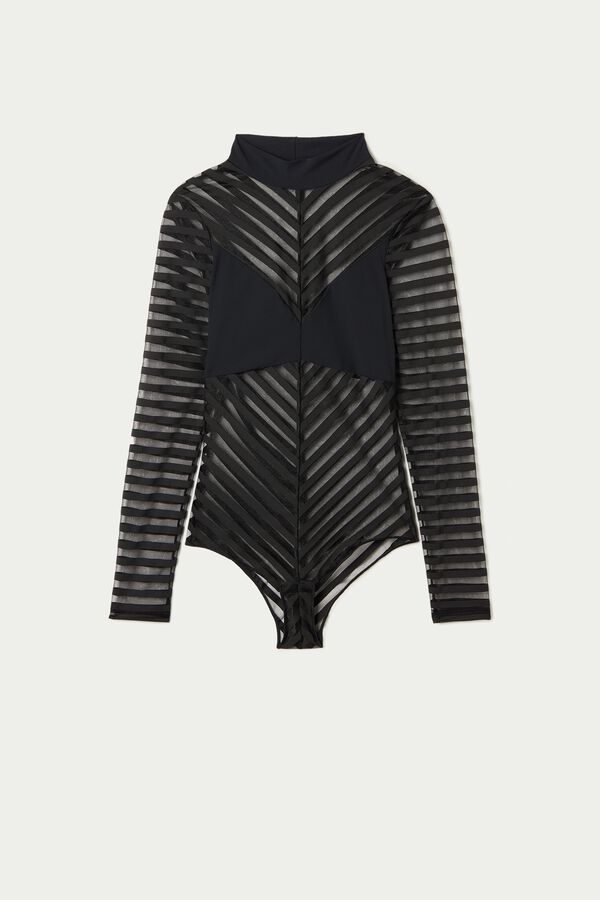 Long-Sleeved Striped Tulle Body