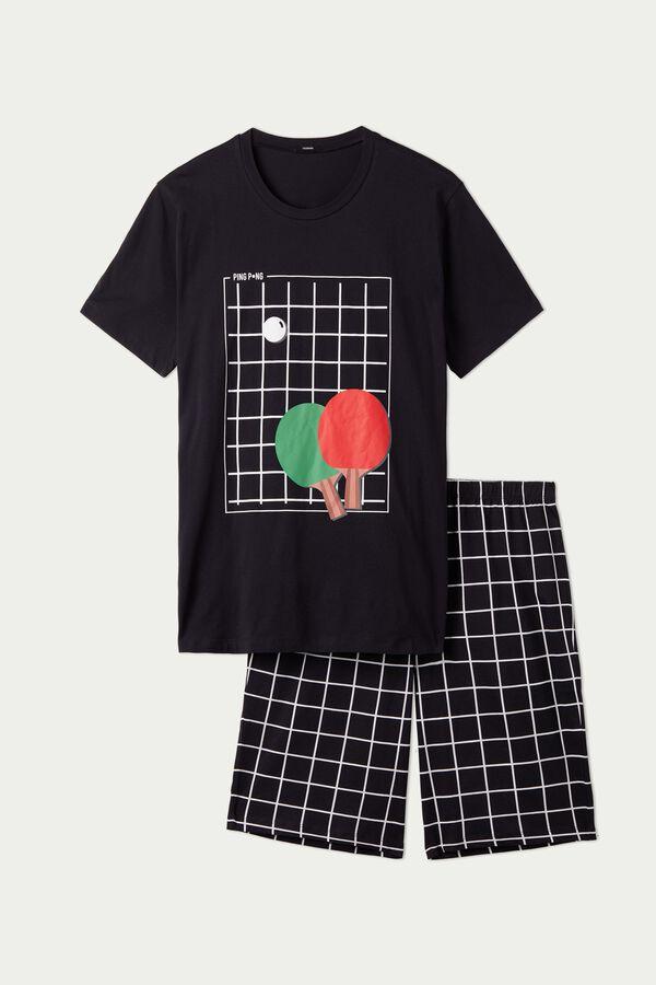 Krótka Piżama Męska z Bawełny z Nadrukiem Ping Pong