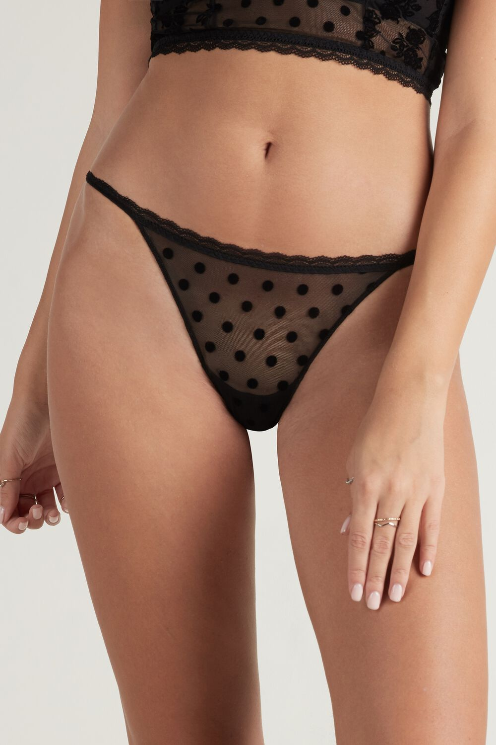 Mix Flock Flocked Tulle G-string
