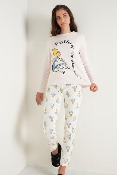 Pijama Largo de Algodón Grueso con Estampado Disney de Alicia Follow Me