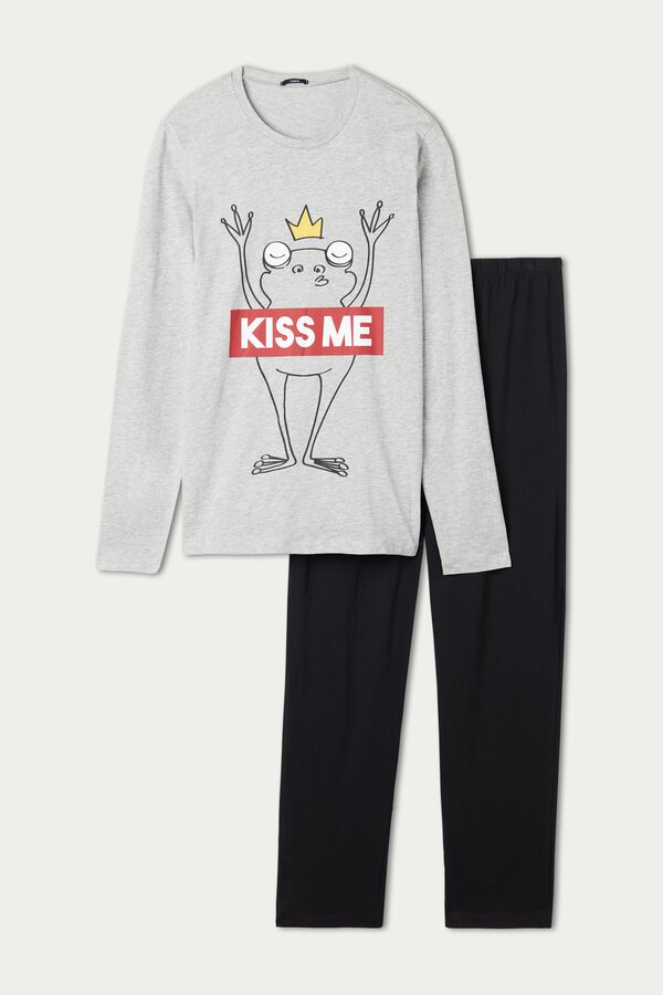 "Men's ""Kiss Me"" Print Long Cotton Pyjamas"