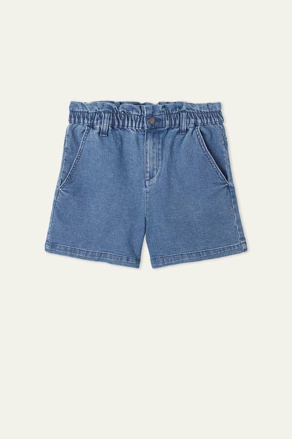 Ruched-waist jean shorts