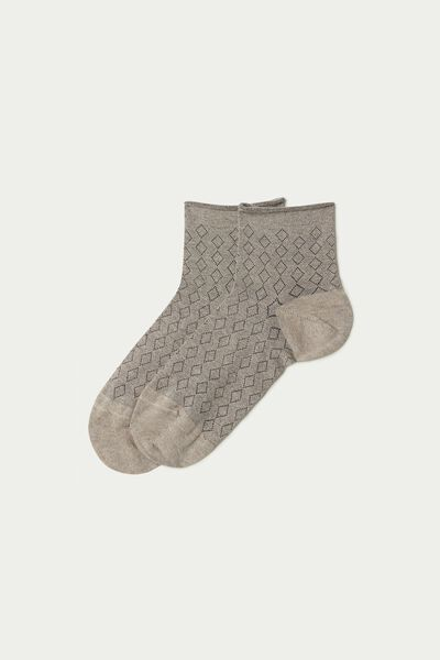 Short Patterned Hemless Cotton Socks