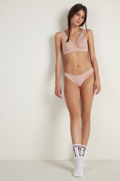 Lace and Raw-Cut Cotton Brazilian Panties