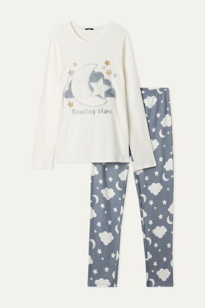 Langer Pyjama aus Baumwolle Mond & Sterne