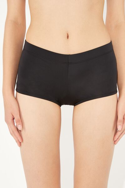 Boy-Short Bikini Bottoms in Plain Hues
