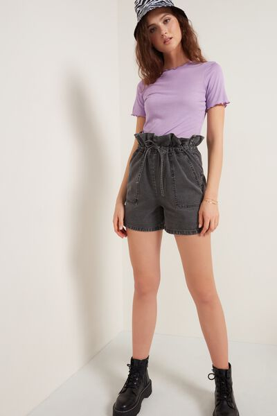 High-Waist Denim Shorts with Large Pockets and Drawstring