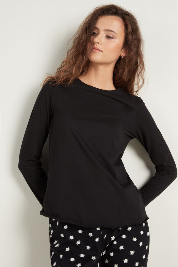 Long Sleeve Lettuce Leaf Stitch Cotton Top