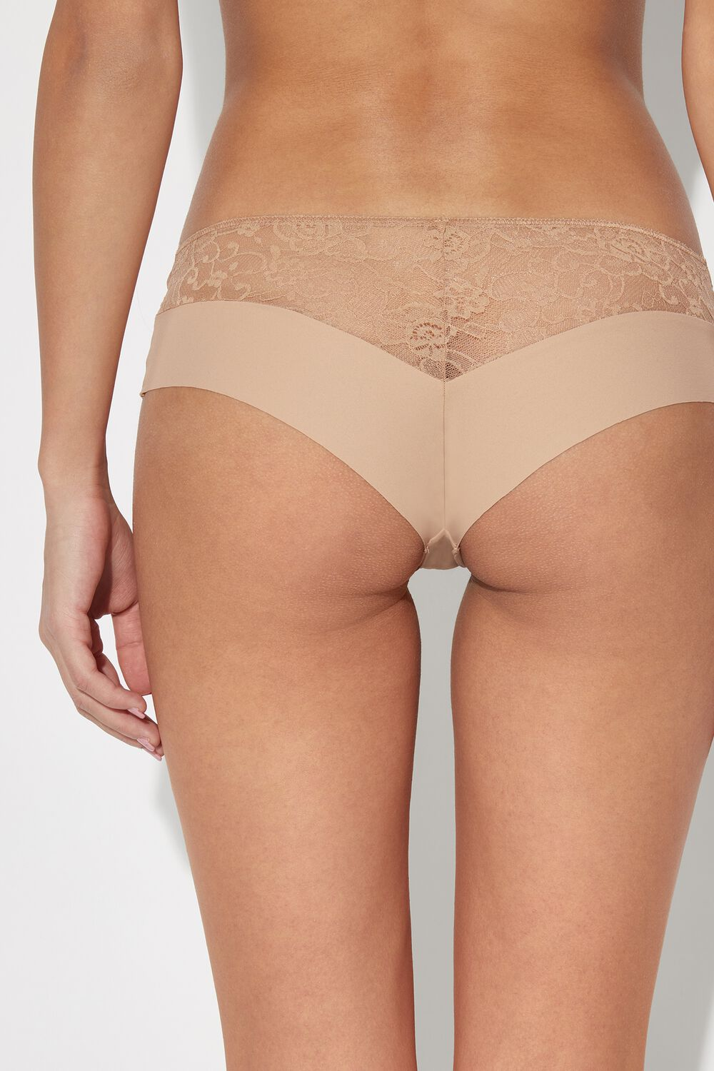 Raw-Edge Microfiber Culotte with Lace Detail