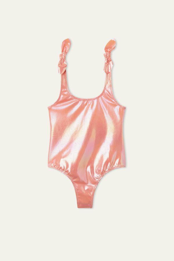 Girls' Glossy One-Piece Swimsuit