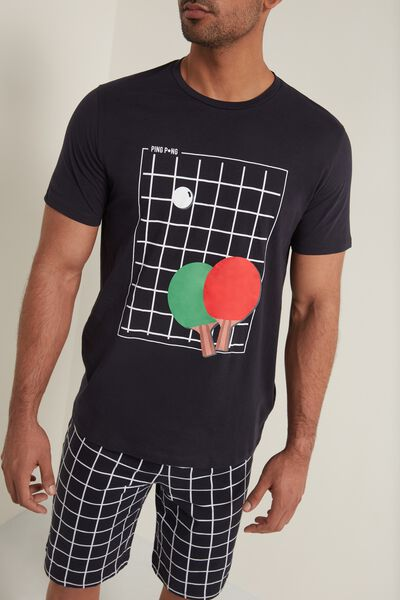 Men's Short Cotton Pyjamas with Ping-Pong Print
