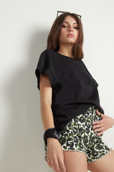 T-shirt Col Bateau et Manches Kimono