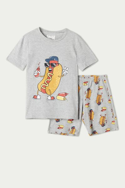 Boys' Short Cotton Pyjamas with Hot Dog Print