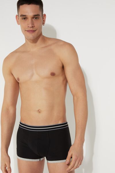 Cotton Boxers with Striped Waistband
