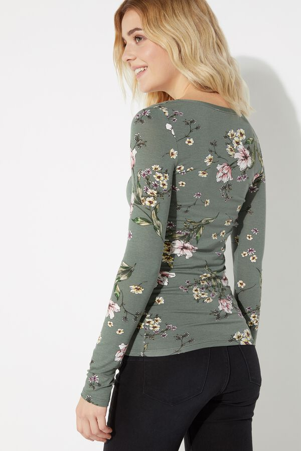 Long-Sleeved Shirt with Wide-Neck and Printed Viscose