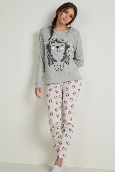 Hedgehog Print Long Lightweight Cotton Pyjamas