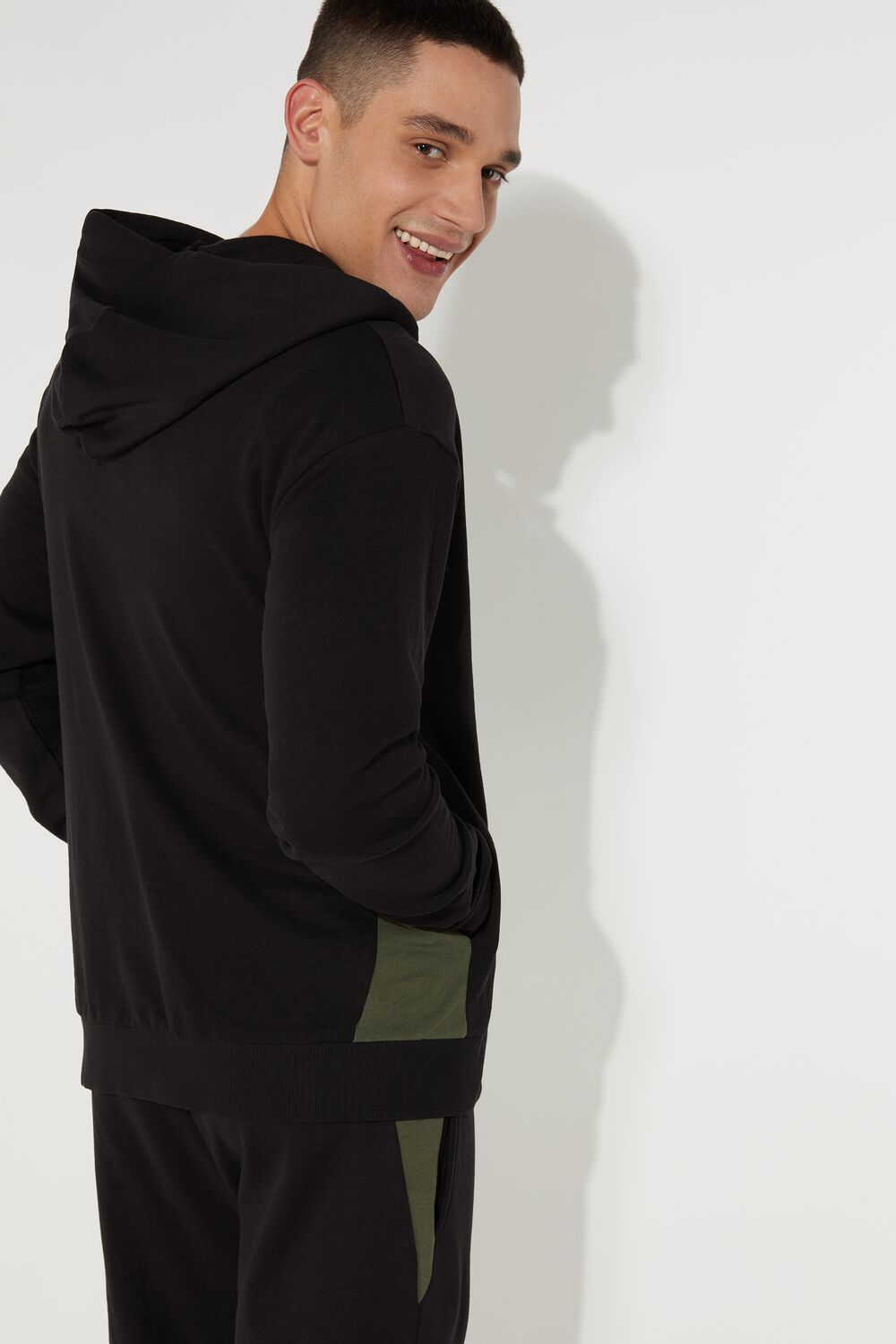Hoodie with Zip and Inserts
