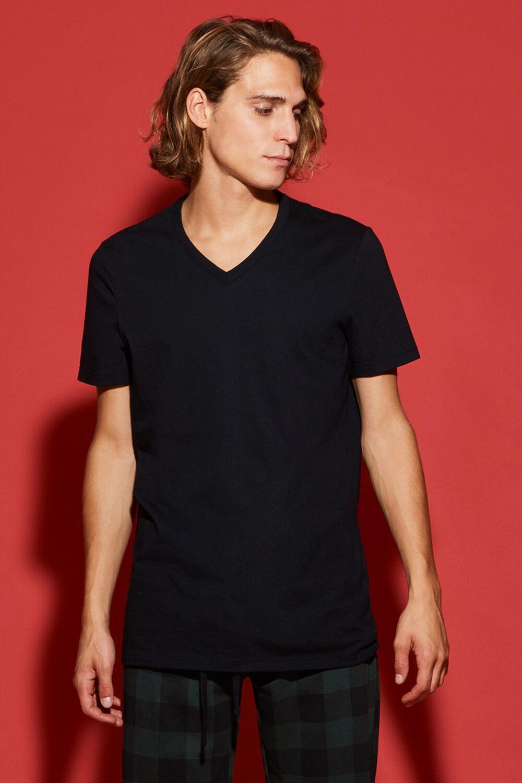 T-Shirt Manches Courtes Col en V Jersey Coton