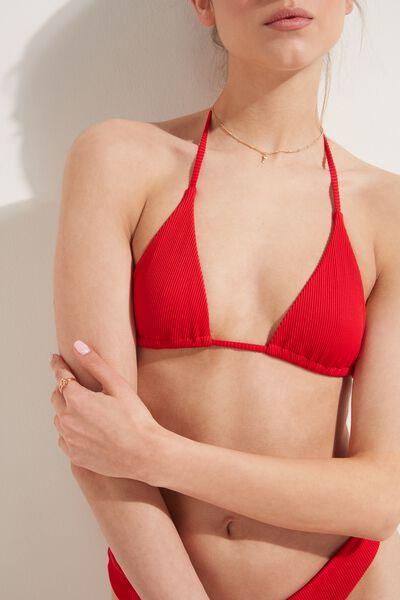 Unpadded Ribbed Triangle Bikini Top