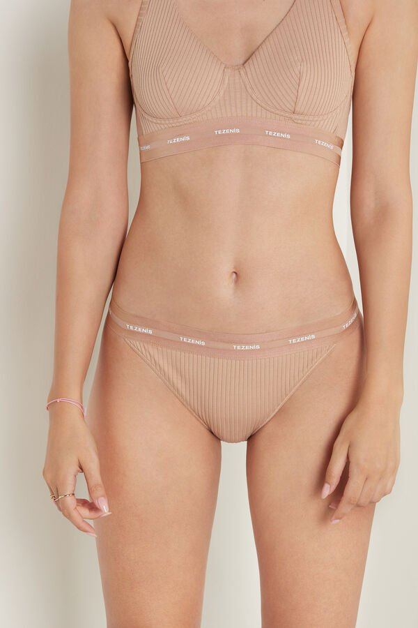 Active Ribbed Organic Cotton Knickers with Panel