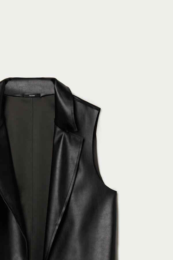 Long Faux Leather Vest
