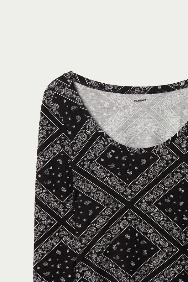 Wide Neck Long Sleeve Top in Printed Viscose