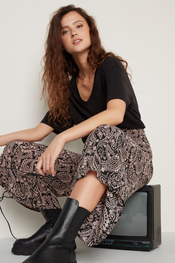 Stitched-Smock Canvas Cropped Trousers