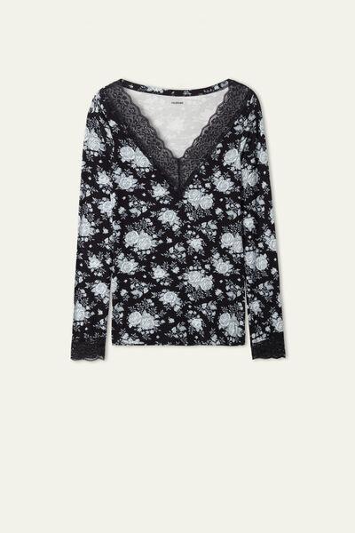 Long-Sleeved Lace V-Neck Jersey