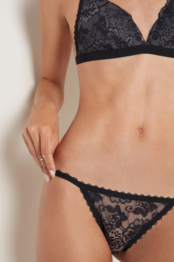Two-Tone Lace Panel G-String