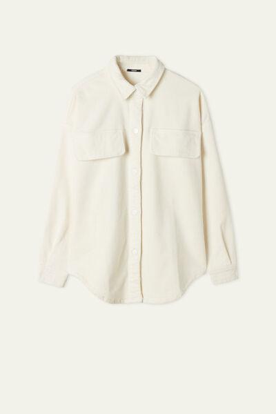 Oversize Needlecord Velvet Long Sleeve Shirt