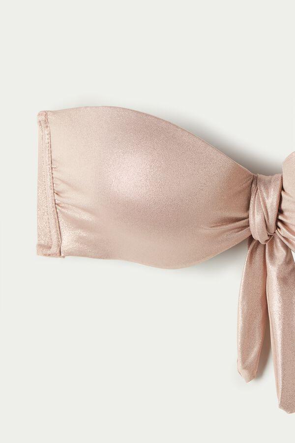 Shiny Nude Bandeau Bikini Top with Knot