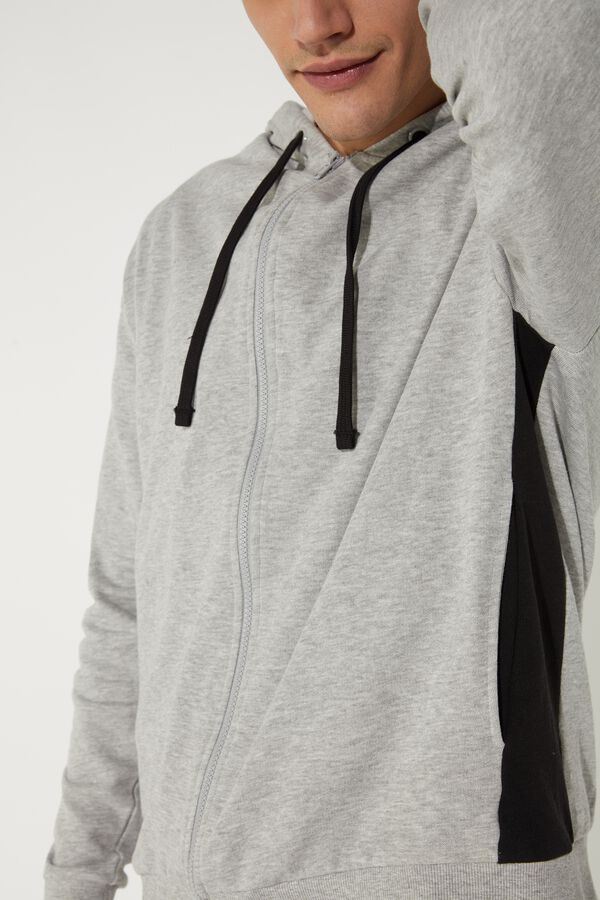 Sweatshirt with Hood, Zipper and Contratsing Side Panels