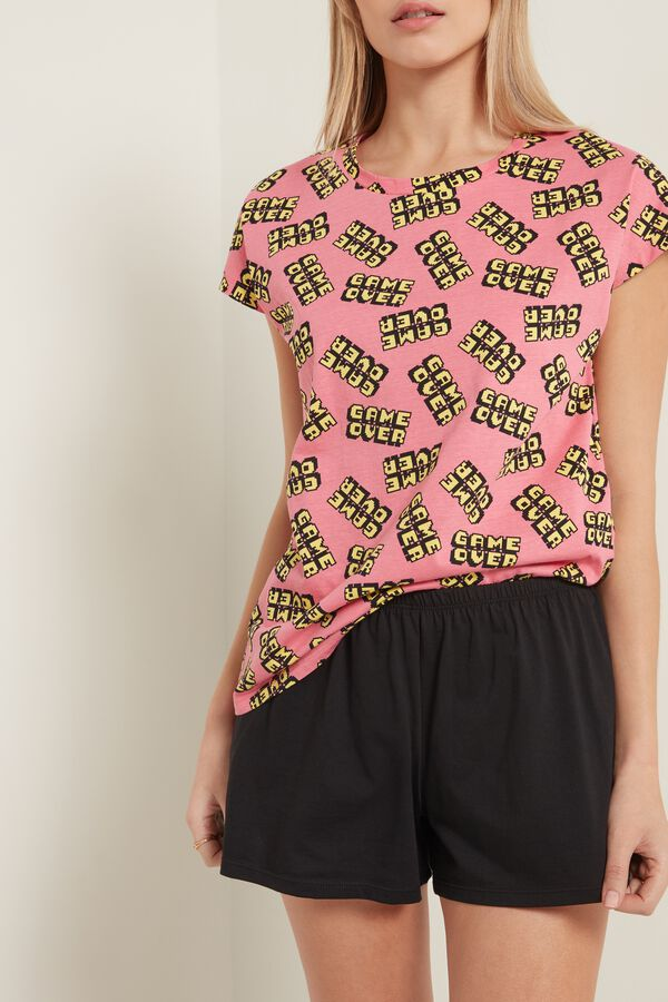 """Short Cotton Pyjamas with """"Game Over"""" Print and kimono sleeve"""