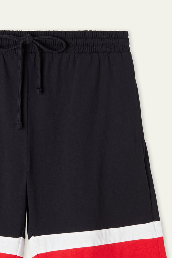 Cotton Shorts with Striped Hem