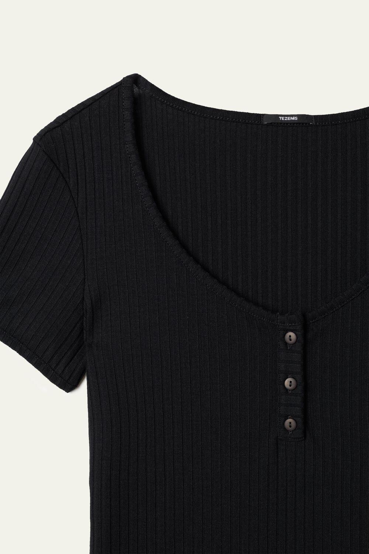 Tričko s Krátkym Rukávom Serafino z Rebrovanej Viskózy