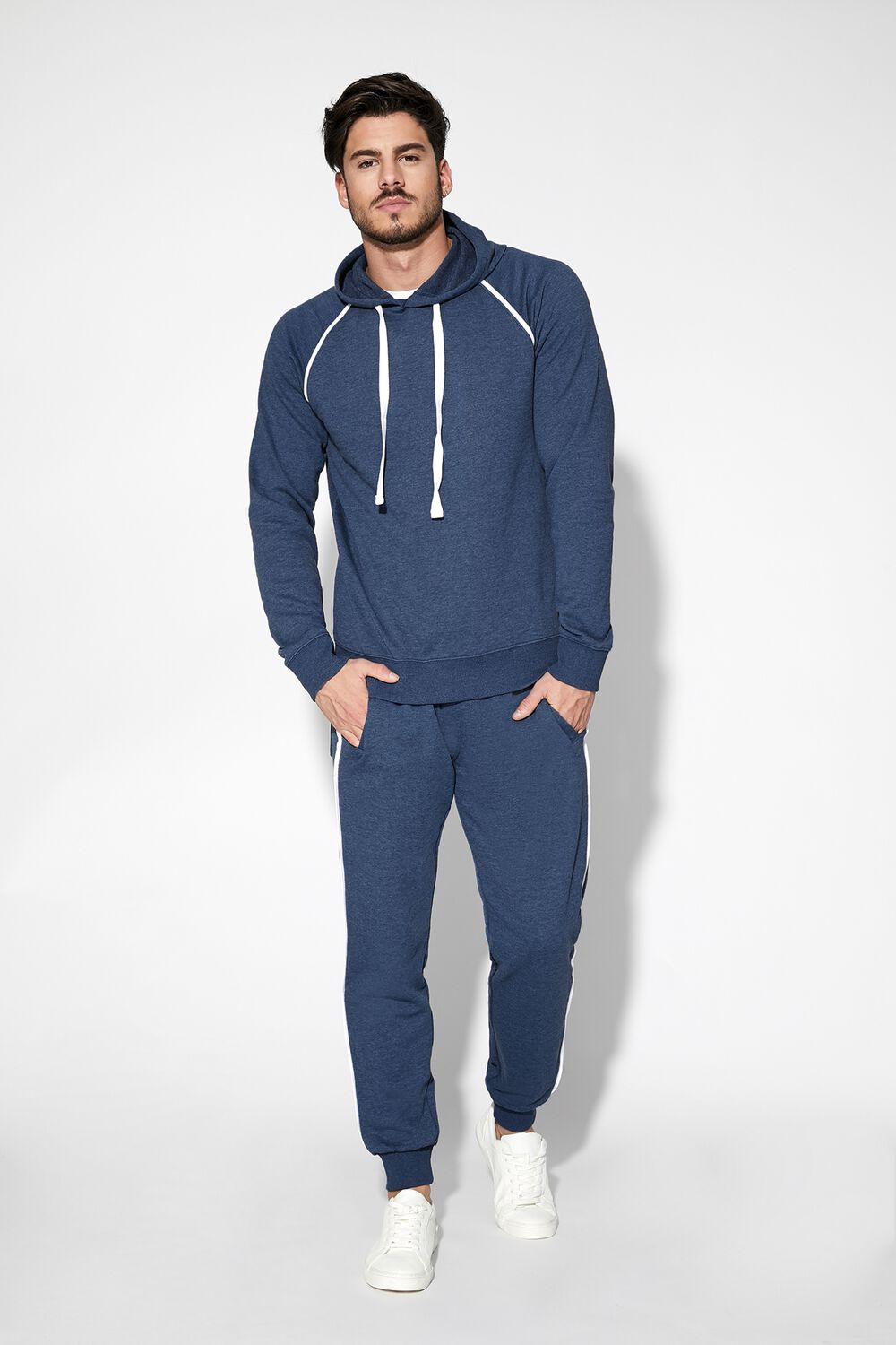Long-Sleeved Hooded Sweatshirt With Piping Detail
