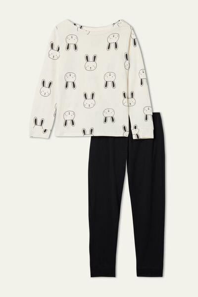 Pijama Comprido Algodão Estampado Bunny