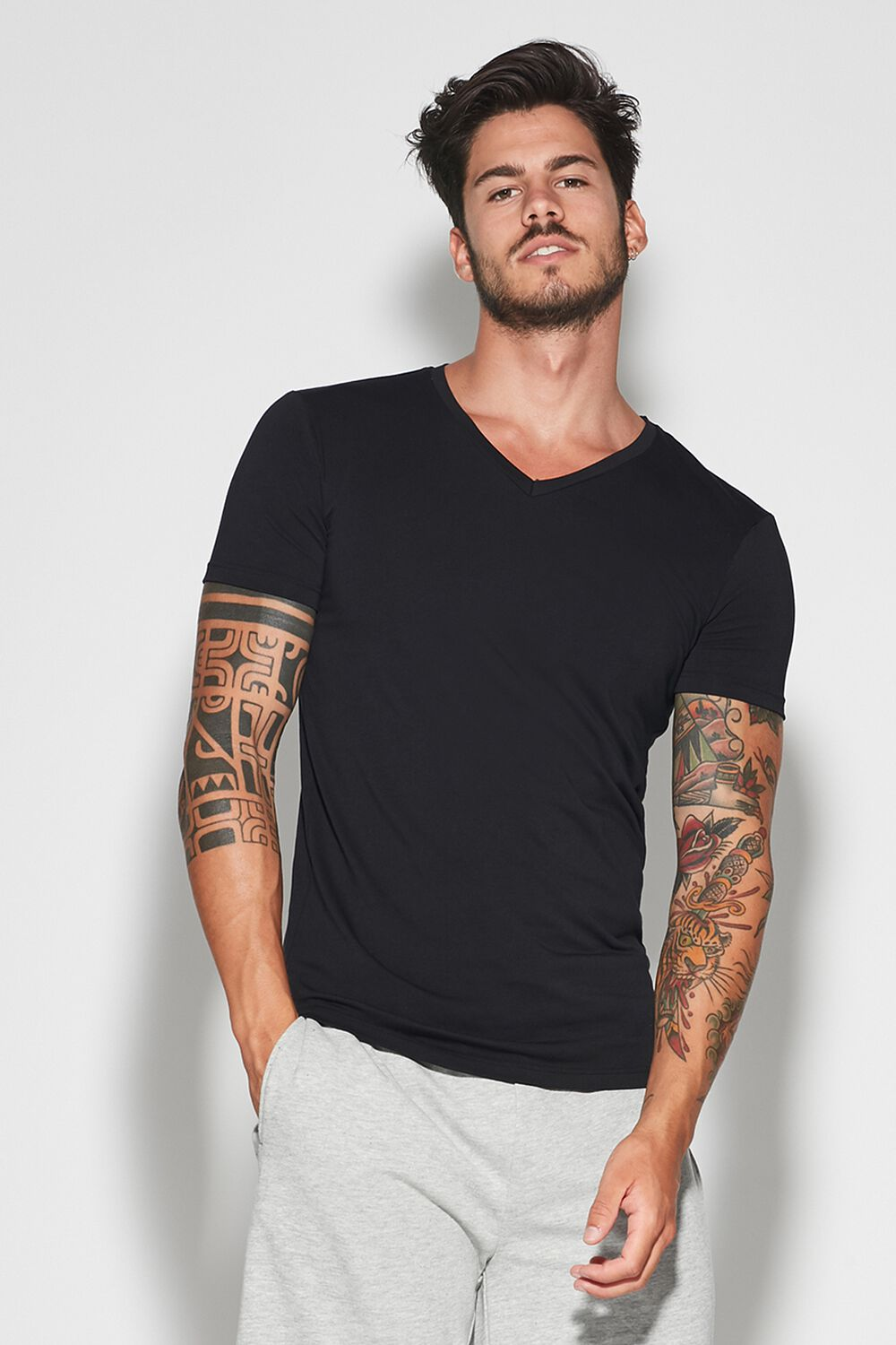 V-Neck Stretch-Cotton T-Shirt