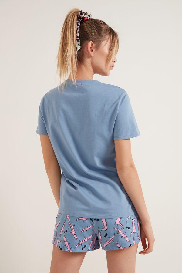 "Short Cotton Pyjamas with ""Keep it Cool"" Print"