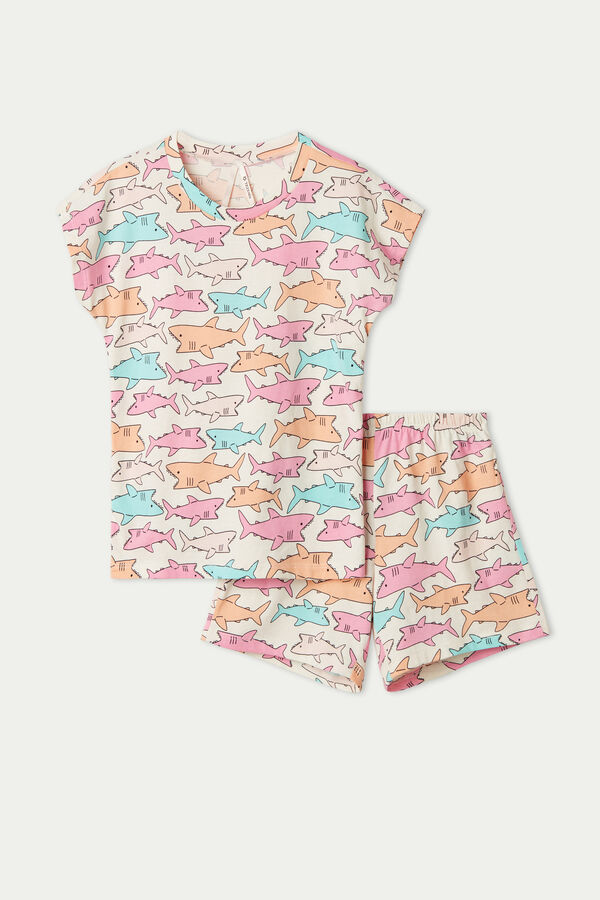 Girls' Shark Print Short Pyjamas with Kimono Sleeve