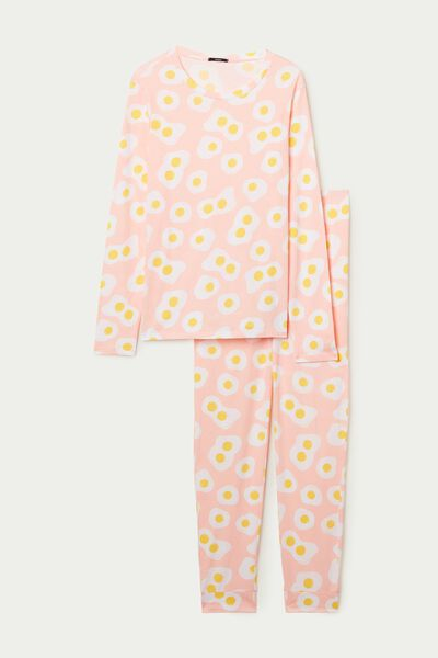 Long Cotton Egg Print Pajamas