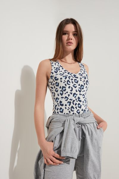 Rounded V-Neck Cotton Tank Top