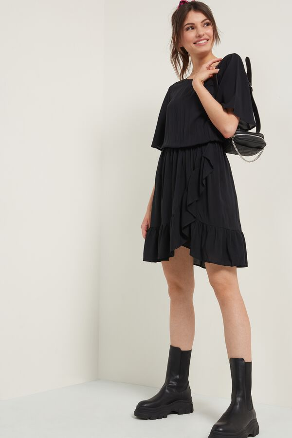 Short Sleeve Canvas Dress with Frill