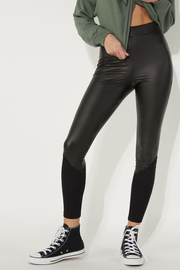 Faux Leather and Rib Knit Leggings