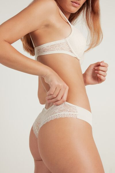Lace and Raw-Cut Cotton Brazilian Panties