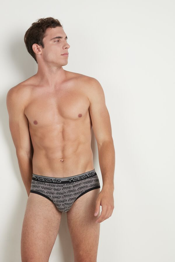 Printed Cotton Briefs with Elasticated Logo Waistband